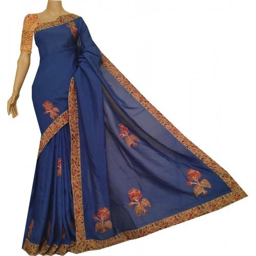 Blue silk saree with hand block Kalamkari border, blouse and applique