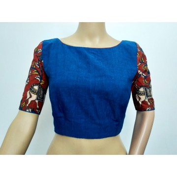 Blue Mangalgiri cotton blouse with Kalamkari sleeves (size 34, can be extended to size 40)