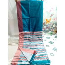 Blue Bihu silk-cotton saree