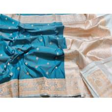 Blue and cream Banarasi Katan silk saree