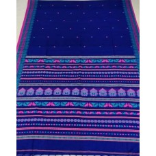 Blue Dongria weave mercerized cotton saree