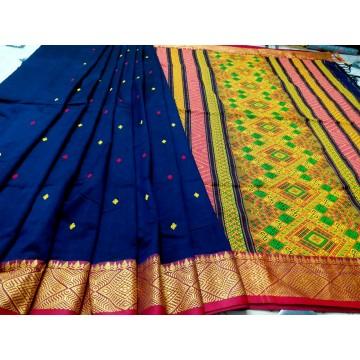 Blue Dongria weave mercerized cotton saree
