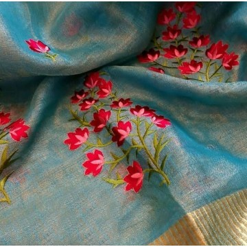 Blue tissue linen saree with floral embroidery
