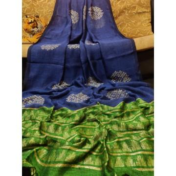 Blue and green linen saree with Banarasi woven motifs