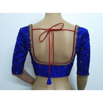 Royal blue blouse with hand embroidery (size 36, can be extended to size 40)