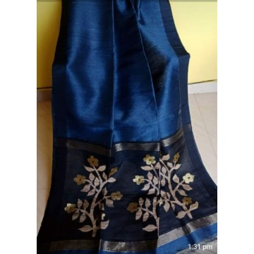 Blue linen-silk saree with jamdani pallu