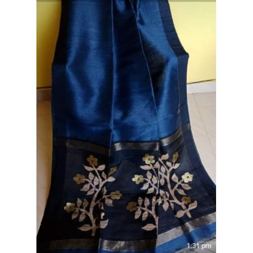 Blue linen-silk saree with jamdani pallu