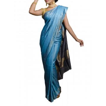 Blue Tussar silk saree with navy blue Ghicha pallu
