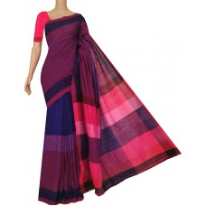 Blue and red colorblock Bengal cotton saree