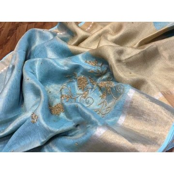 Blue tissue linen saree with hand embroidery