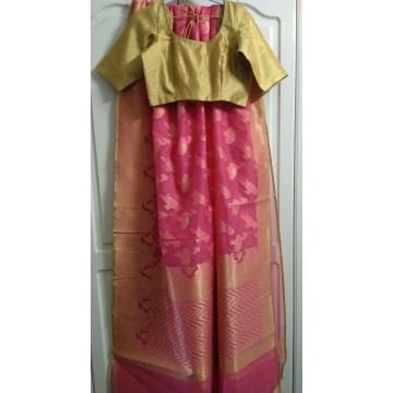 Blush pink Banarasi jacquard saree with gold blouse