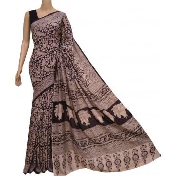 Black and beige silk Kalamkari saree