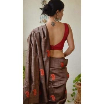 Brown embroidered Tussar silk saree