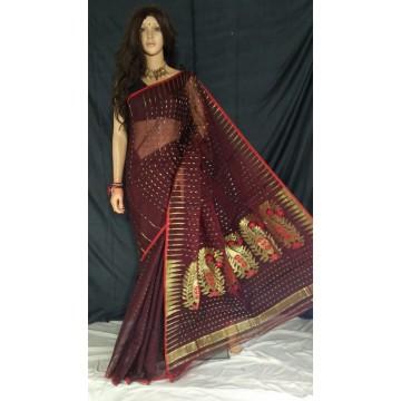 Brown zari jamdani cotton silk saree