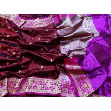 Burgundy and magenta Banarasi Katan silk saree