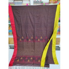 Burgundy mercerized cotton saree with jamdani pallu and Kantha stitch