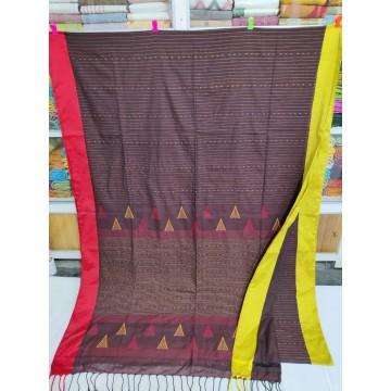 Burgundy mercerized cotton saree with jamdani pallu and Kantha stitch