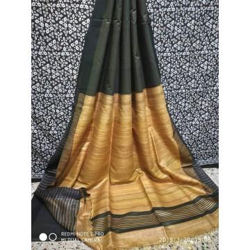 Dark charcoal Tussar silk saree with beige Ghicha pallu