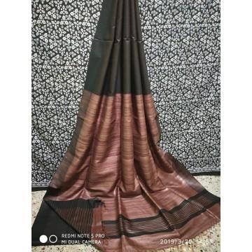 Black-brown Tussar silk saree with Peachish-brown Ghicha pallu