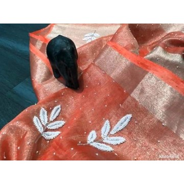 Coral tissue linen saree with pearl embroidery