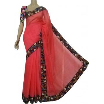 Coral semi-jute silk saree with Kalamkari border and blouse