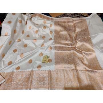 Cream Banarasi Katan silk saree with antique gold zari