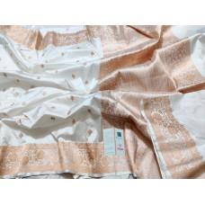 Cream Banarasi Katan silk saree