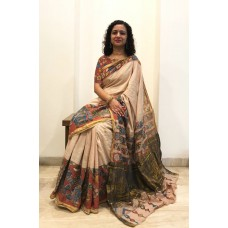 Cream Kerala cotton saree with pen Kalamkari