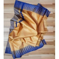 Beige and blue Kota viscose saree with temple border