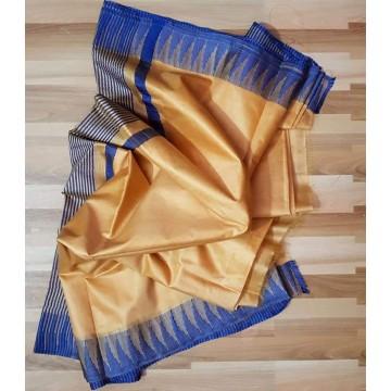 Beige and blue Kota viscose saree with temple border