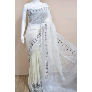 Cream linen saree with musical notes embroidery