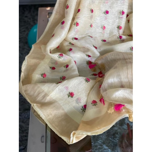 Cream linen-silk saree with floral embroidery