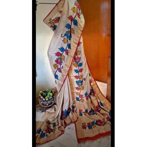 Cream Tussar silk saree with hand painting