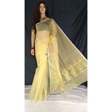 Cream zari jamdani cotton silk saree
