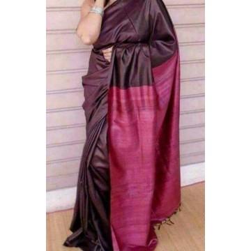 Dark wine Tussar silk saree with magenta Ghicha pallu