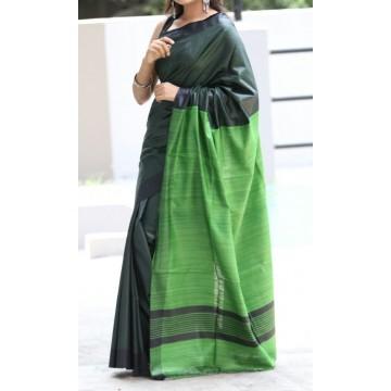 Dark green Tussar silk saree with leaf green Ghicha pallu
