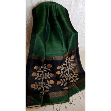 Dark green linen-silk saree with jamdani pallu