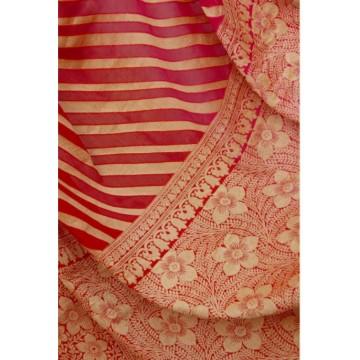 Shaded red-pink striped Banarasi chiffon saree