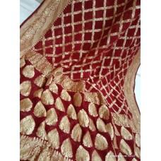 Maroon gold zari Banarasi georgette saree