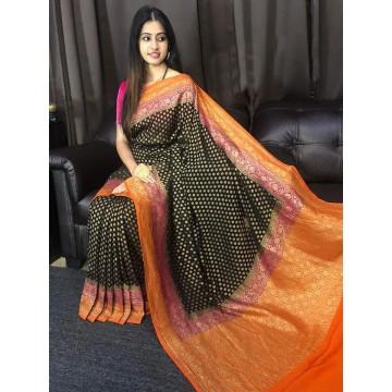 Double border Banarasi georgette-chiffon saree