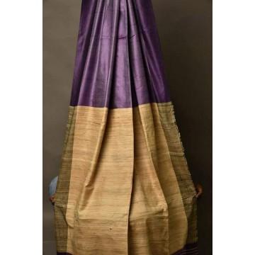 Eggplant Tussar silk saree with beige Ghicha pallu