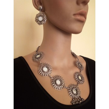 Pure silver floral necklace and earrings set