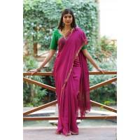 Fuchsia Banarasi georgette saree with Banarasi silk blouse