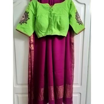 Fuchsia Banarasi georgette saree with Kalamkari applique blouse