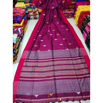 Fuchsia tribal weaving Khadi cotton saree