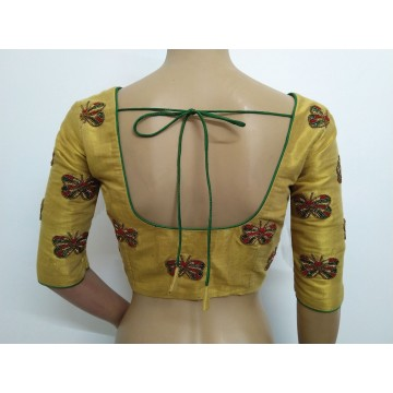 Gold blouse with hand embroidery (size 36, can be extended to size 40)