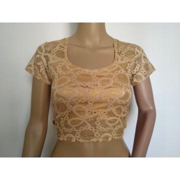 Gold lace stretch blouse (size 32-34)
