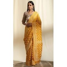 Golden yellow Banarasi georgette-chiffon saree