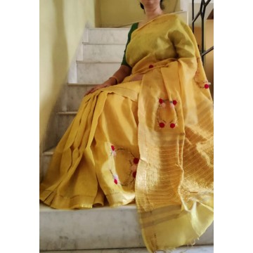 Golden yellow Kota silk-linen saree with hand embroidery