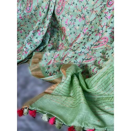 Green linen-silk saree with Kashmiri embroidery